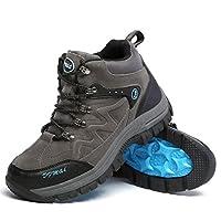 [XINXIKEJI]メンズ トレッキングシューズ ハイキングシューズ ハイカット クライミング スポーツ 通気 吸汗 クッション性 耐磨耗 防滑 登山/旅行/ジョギング/キャンプ 心地良い 四季通用 24.5cm グレー