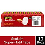 Scotch Brand Super-Hold Tape, Our Most Secure Tape, Clear Finish, Photo-Safe, Engineered for Sealing, 3/4 x 800 Inches, Boxed, 10 Rolls (700S10)