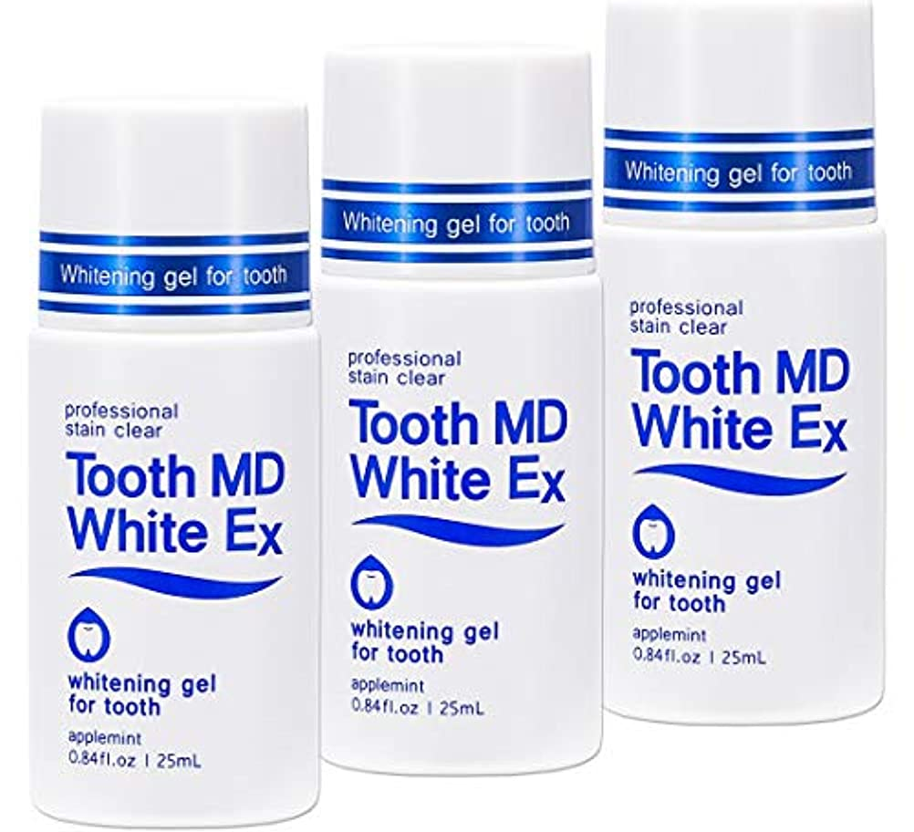 役に立たない金銭的再びトゥースMDホワイトEX 3個セット [歯のホワイトニング] 専用歯ブラシ付き