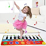 negaor 148 * 60cm/ 58 * 24in Musical Mat Foldable Piano Mat Kids Keyboard Electronic Music Carpet Touch Play Learning Singing Blanket for Children Baby Early Education Toys