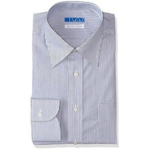 【dresscode101】洗って干してそのまま着る メンズノーアイロンワイシャツ 長袖 超形態安定 綿100% 紺 ストライプ セミワイド L(裄丈82)