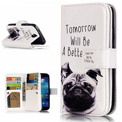 OMATENTI Samsung Galaxy S4 用 PUレザー手帳型ケース [強化ガラスフィルムを無料で贈ります] [無期限生涯補償付き] 耐摩擦 耐汚れ 全面保護 フリップ 人気 横開き スマートフォン カバー (犬)