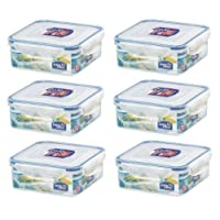(Pack of 6) LOCK & LOCK Airtight Square Food Storage Container 29.41-oz / 3.68-cup [並行輸入品]