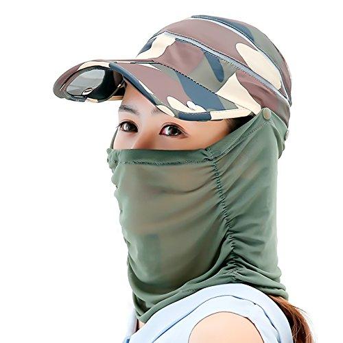 [パワーソリューション] POWER SOLUTION UVカバー帽子 キャップ フェイスカバー付き 折りたたみ可能 アームカバー プレゼント 迷彩 グリーン