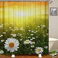 咲く花のテーマの装飾浴室の窓の装飾のための生地のホックが付いているポリエステル防水シャワー・カーテン60X72in