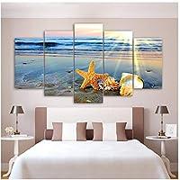 絵画キャンバス壁アート写真家の装飾5ピースビーチ虹風景ヒトデ海シェル現代ポスター-30x40 30x60 30x80cmなしフレーム
