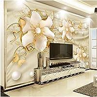 Xbwy ヨーロピアンスタイルの高級壁紙3Dゴールデンジュエリー花シルクウォールペーパーリビングルームテレビソファ背景壁カバーホームデコレーション-150X120Cm