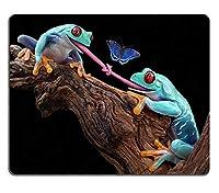 マウスパッドゲームマウスパッド自然ゴムマウスマット2つの赤い目の木のカエルが同じ蝶を食べようとしていて、舌が結ばれましたM0A05227