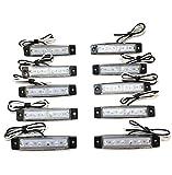 12V 6連 LED ライト サイド マーカー ランプ 10個 セット ホワイト アンバー レッド ブルー グリーン トラック ダンプ カー トレーラー デコトラ 等 カスタム パーツ (ホワイト)