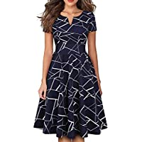 YATHON Women's Vintage Pleated Flared Swing A-Line Casual Party Work Dresses