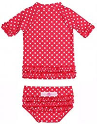 RuffleButts ラッフルバッツ水着 UPF50+ ラッシュガード Polka Dot Ruffled Rash Guard Bikini (12-18m(75cm), Red(レッド)) [並行輸入品]