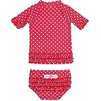RuffleButts ラッフルバッツ水着 UPF50+ ラッシュガード Polka Dot Ruffled Rash Guard Bikini (2T(90cm), Red(レッド)) [並行輸入品]