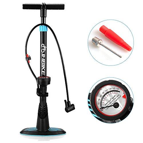 INBIKE(インバイク)自転車ポンプ 空気圧ゲージ付き 米式/仏式バルブ対応 ダブルヘッド 空気入れ(Floor pump S16319)