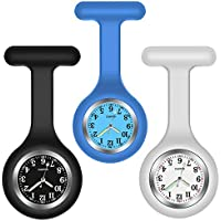 3 Pack Home-Mart Nurse Watch Brooch 3 Colours, Silicone with Pin/Clip, Glow in Dark, Infection Control Design, Health Care Nurse Doctor Paramedic Medical Brooch Fob Watch