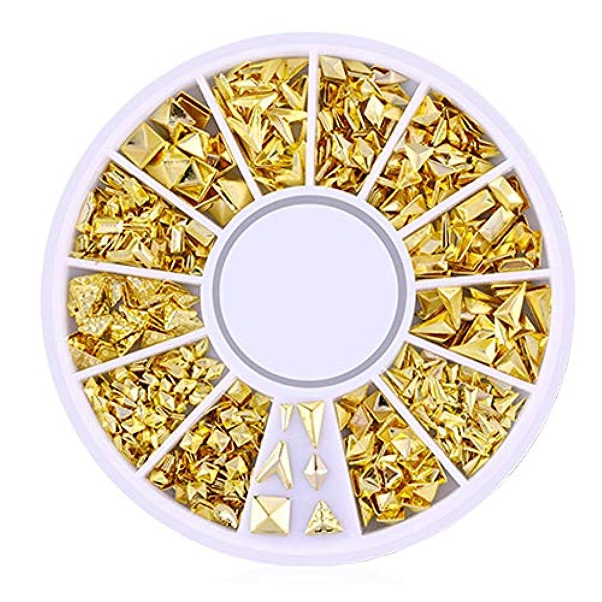 添加剤盲目ランチSnner 3D ネイルパーツ メタル ゴールド ハート 星 月 花 蝶結び 幾何風 12種形 ネイルデコレーション 円型ケース入リ ピンクケース 200点セット (幾何風4)