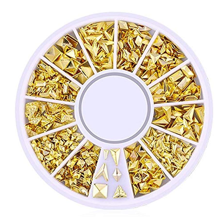 軽食残りピアノを弾くSnner 3D ネイルパーツ メタル ゴールド ハート 星 月 花 蝶結び 幾何風 12種形 ネイルデコレーション 円型ケース入リ ピンクケース 200点セット (幾何風4)