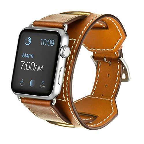 Elobeth Apple Watch アップルウォッチ バンド 本革 カフ for Apple Watch Series 3&2&1(42mm, ブラウン)