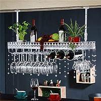 CHRDW ワインラック金属壁掛けワインラックぶら下げカウンターカップホルダーワイングラスゴブレットラック高さ調節可能な30〜60センチ棚用レストラン、バー(クリスタルペンダントを含む) (Color : White, Size : 100x25cm)
