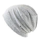 抗がん剤/医療用帽子 オーガニック ガーゼコットンキャップ (S, ライトグレーボーダー)