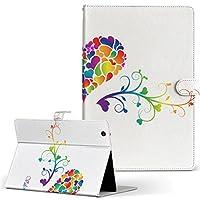 d-01J dtab Compact Huawei ファーウェイ タブレット 手帳型 タブレットケース タブレットカバー カバー レザー ケース 手帳タイプ フリップ ダイアリー 二つ折り ラブリー ハート カラフル 006774