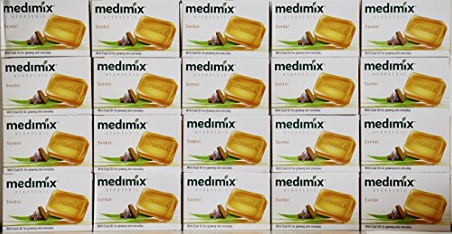 酸乳白色山積みのmedimix メディミックス アーユルヴェディックサンダル 石鹸(旧商品名クラシックオレンジ))125g 20個入り