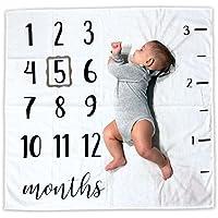 Baby Monthlyマイルストーンブランケット| Includes画像フレームとルーラー|オーガニックコットン100 % | 1 to 12 Months | Bestベビーシャワーギフト|写真バックドロップ写真プロップfor新生児Boy & Girl