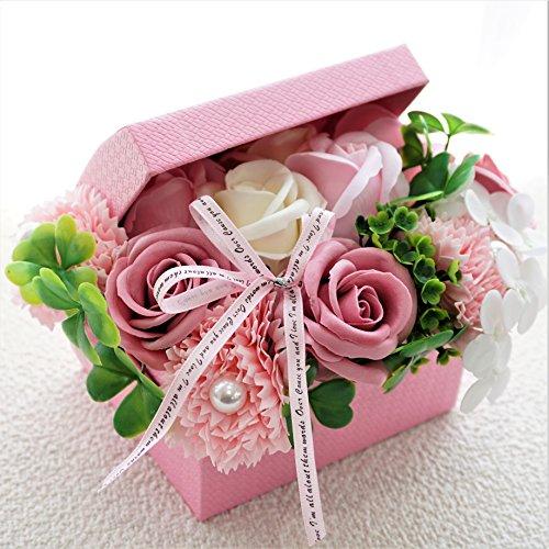 【感謝セール】BIOフレグランスソープフラワー オープンボックス フタ付ボックス お祝い 記念日 お見舞い 母の日 ホワイトデー バレンタインデー (ピンク, ミニ)