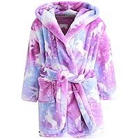 Ameyda Cosplay Costumes Girl's Soft Flannel Bathrobes, Hooded Soft Warm Sleepwear with Belt Unicorn Flannel Robe for Girl, Purple Galaxy Unicorn, 11-12 Years = Tag 170