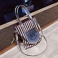 Has Many Uses Female Stripe Canvas Shoulder Bag Simple File Shopping Handbag (Purple)