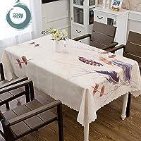 家庭用テーブルクロス芸清绵麻风の小さな新鲜なテーブル布の长方形のテーブルパッド羽婵H 130*180cm