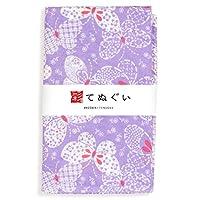 彩(irodori) ガーゼ手ぬぐい 紋蝶 パープル 紫 小粋手拭 日本製 てぬぐい 二重袷 二重ガーゼ ほつれ防止加工 約33×88cm