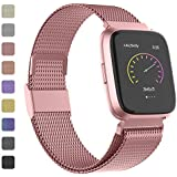 Adepoy Metal Replacement Bands Compatible for Fitbit Versa/Versa Lite Edition/Versa 2, Stainless Steel Loop Metal Mesh Bracelet Unique Magnet Lock Wristbands