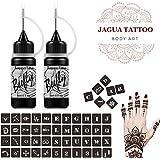 Jagua Temporary Tattoos Kit, Jagua Gel Semi Permanent Tattoo Freehand Gel/Ink (Organic Jagua Fruit Based) Dozens Pcs Free Stencils,DIY Tattoos Freckles, Full Kit 2 Bottles(1oz)