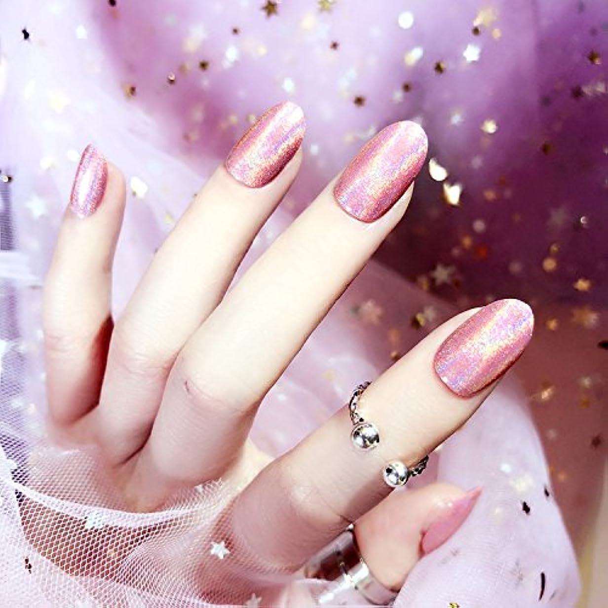 バーチャル明らか民族主義質感 彩がつく 24枚純色付け爪 ネイル貼るだけネイルチップ レーザー 多重光沢 お花嫁付け爪 ジェルネイルの光疗法 シンフォニー (アメジスト)