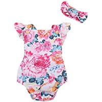 Emmababy Baby Girls' Romper Floral Ruffles Printing Clothes Toddlers Outsuit