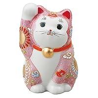 九谷焼 3.8号招き猫(右手) ピンク盛
