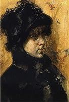 手書き-キャンバスの油絵 - 美術大学の先生直筆 - A Portrait Study William Merritt Chase 絵画 洋画 複製画 ウォールアートデコレーション -サイズ02
