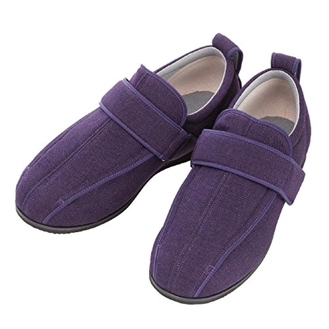 淡いトーン臭い介護シューズ あゆみ ケアフルIII 外出用 紫 M 22.0-22.5cm 足囲9E 両足