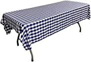 LA Linen Checkered Tablecloth, 60 by 102-Inch, Royal Blue