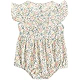 [ポクトロン] ベビー赤ちゃん半袖花柄フラワースリーブジャンプスーツクロールスーツロンパース