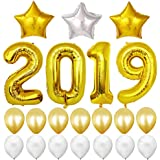 BESTOYARD 風船セット 2019 アルミバルーン ラテックス風船 飾り付け 星 新年 クリスマス パーティー お祝い イベント 装飾 21点セット(ゴールデン)