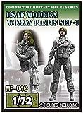 トリファクトリー 1/72 ミリタリーフィギュアシリーズ 現用 アメリカ空軍 女性パイトロット 2体入 レジンキット MF-04C