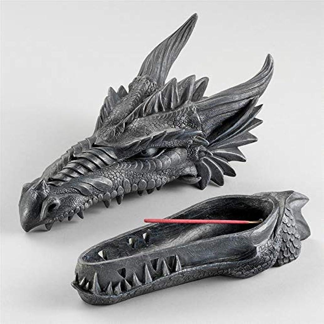 生きる限定起きるDesign Toscano Stryker The Smoking Dragon Sculptural Incense Box in Dark Grey Stone