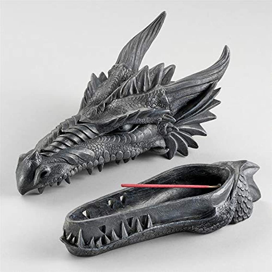 賞時制住人Design Toscano Stryker The Smoking Dragon Sculptural Incense Box in Dark Grey Stone