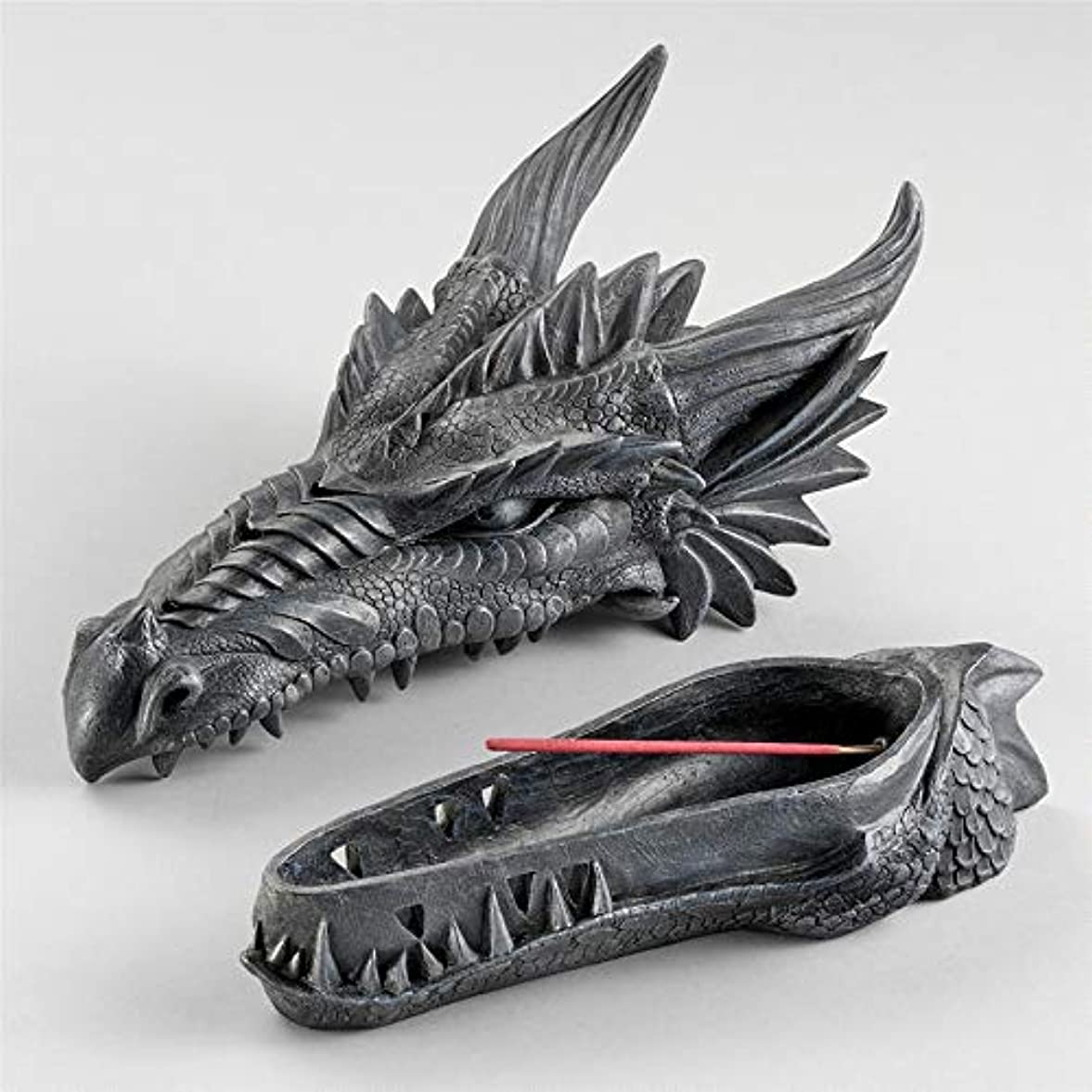 陰謀ストレージディーラーDesign Toscano Stryker The Smoking Dragon Sculptural Incense Box in Dark Grey Stone