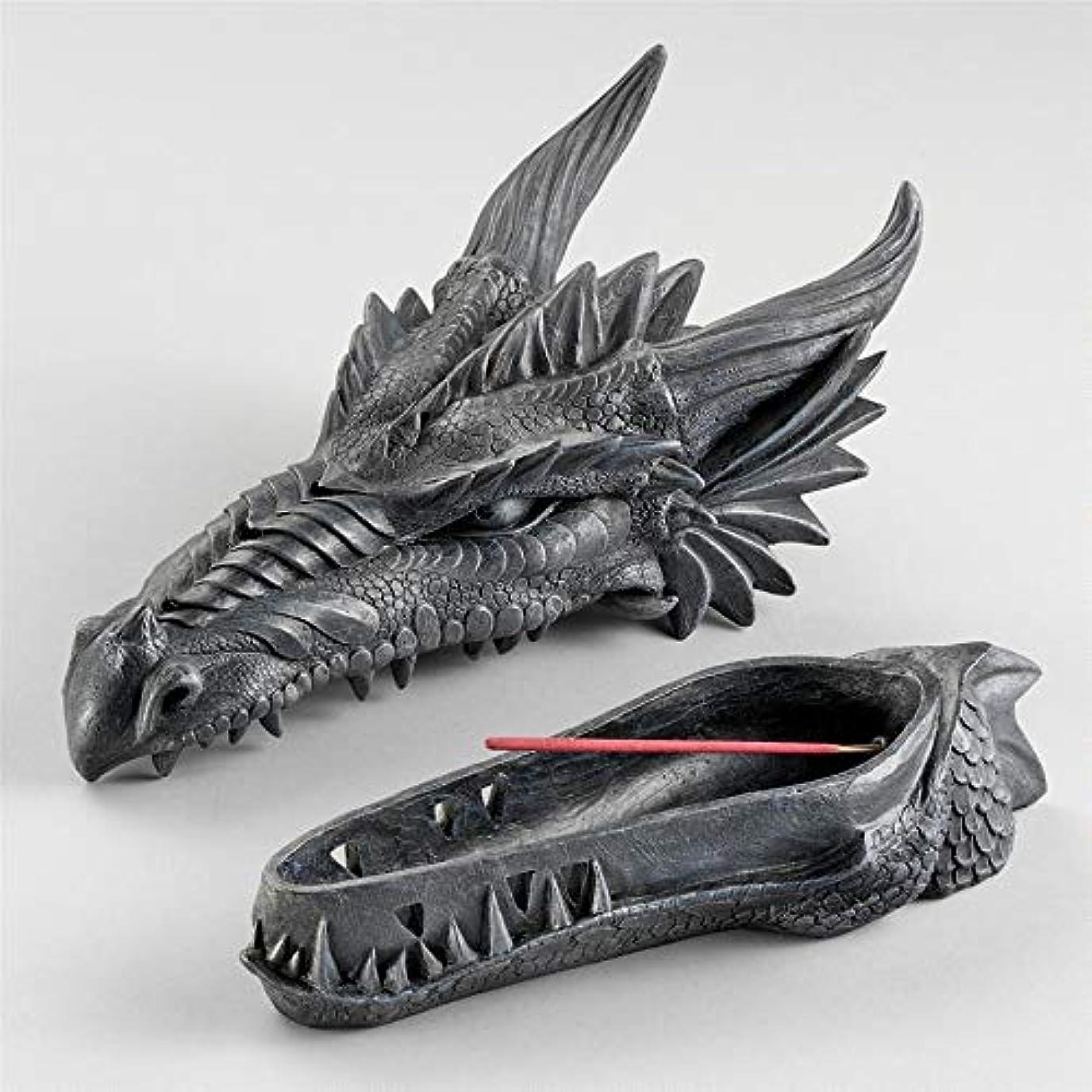 起業家透過性洪水Design Toscano Stryker The Smoking Dragon Sculptural Incense Box in Dark Grey Stone
