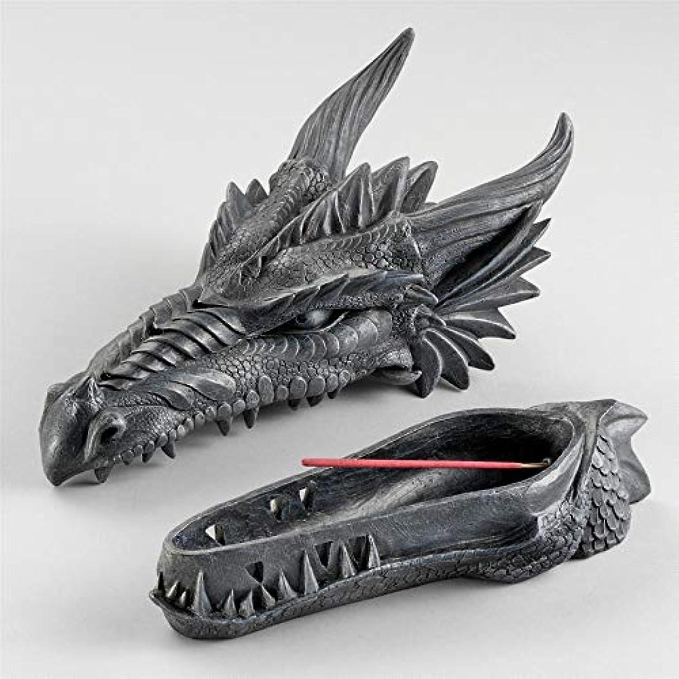 解決区提供するDesign Toscano Stryker The Smoking Dragon Sculptural Incense Box in Dark Grey Stone