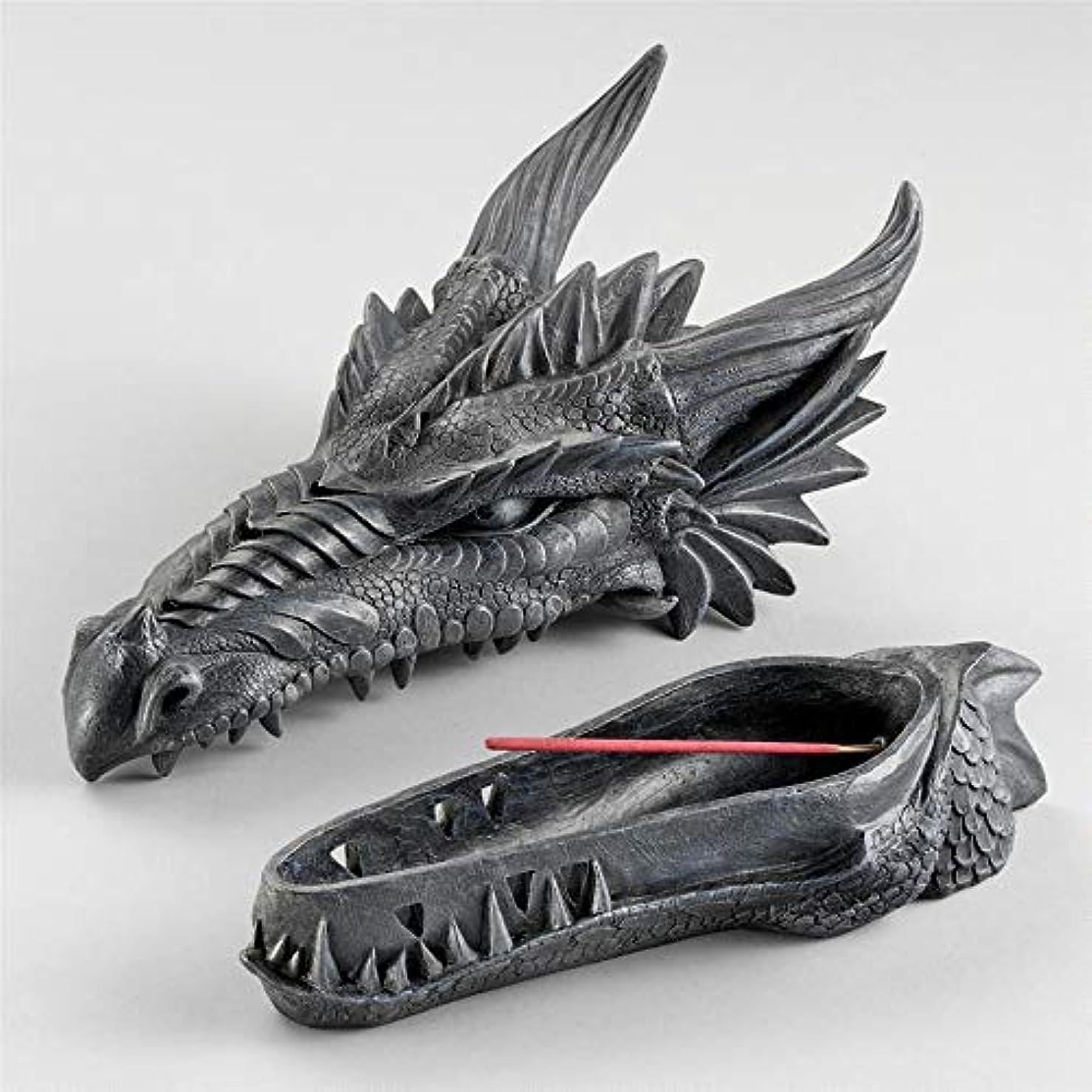 壊すあいにく間Design Toscano Stryker The Smoking Dragon Sculptural Incense Box in Dark Grey Stone
