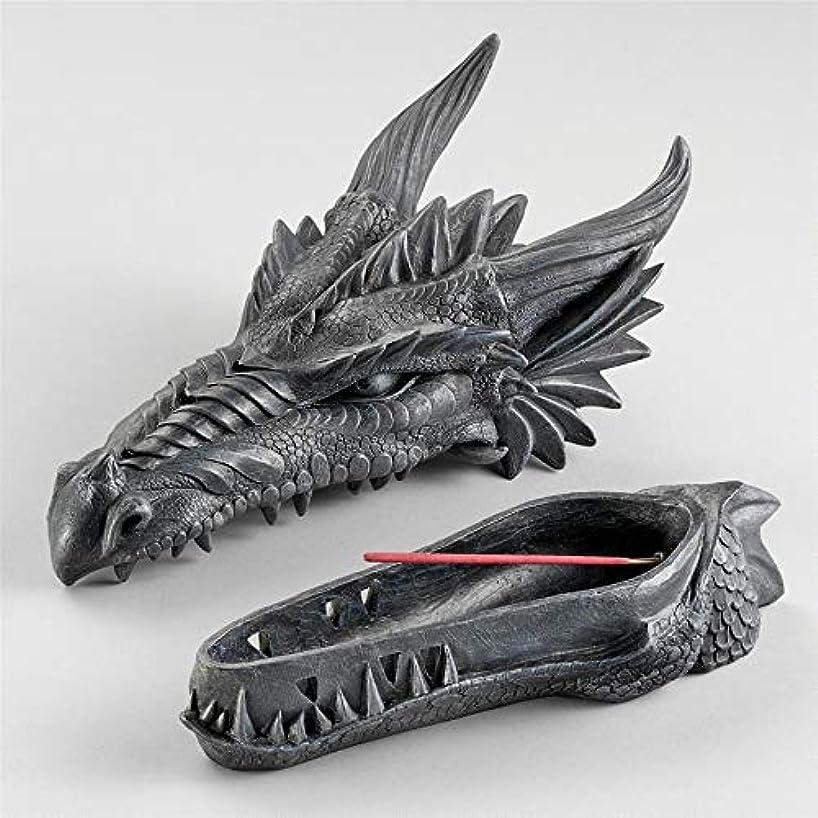 味振る舞い誰がDesign Toscano Stryker The Smoking Dragon Sculptural Incense Box in Dark Grey Stone