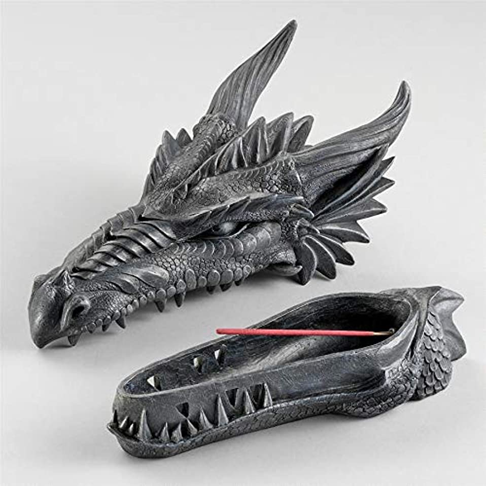 追い付く絡み合い文Design Toscano Stryker The Smoking Dragon Sculptural Incense Box in Dark Grey Stone